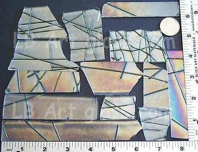 1 POUND AVENTURINE GREEN CHOPSTIX / WEB ON CLEAR IRIDIZED BULLSEYE GLASS 90 COE