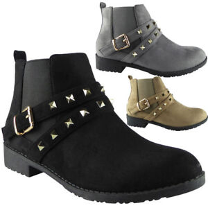 Womens-Ladies-Studded-Buckle-Low-Heel-Work-Chelsea-Ankle-Boots-Flat-Shoes-Size