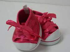 Build A Bear BAB Pink Sparkle High Tops Basketball Sneakers Tennis Shoes Sequin