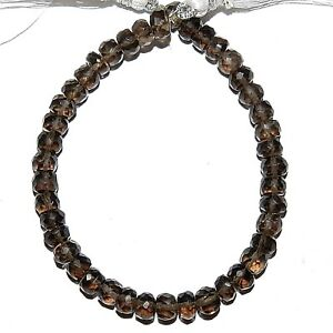NG2197-Smoky-Quartz-4mm-5mm-Hand-Cut-Faceted-Rondelle-Gemstone-Beads-6-034
