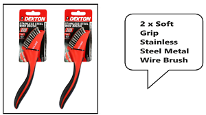 2 x Soft Grip  Stainless Steel Metal Wire Brush Ideal for Rust Removal DEKTON