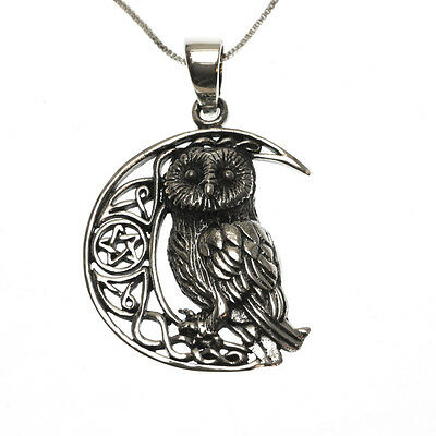 Sterling Silver 925 Owl Moon Pentagram Star Pendant Necklace Lisa Parker