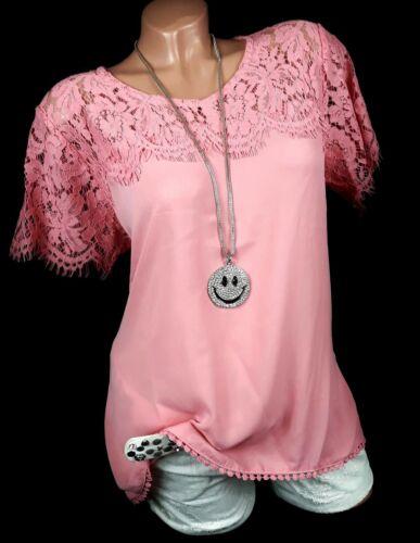 40 42 Spitzenbluse Shirt Bluse mit Spitze in pfirsich rosa von Zabaione Gr