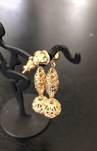 Dangle Earrings - Vintage, Monet Signed, Gold Tone, Filigree,