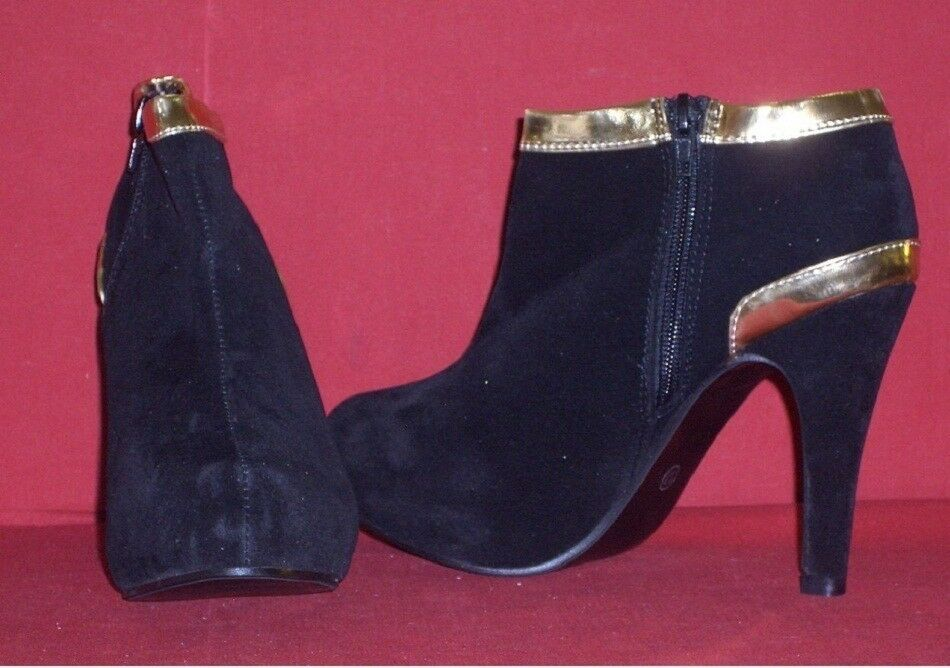 Elegant Ankle Boots in Suede Look Look Look with gold Size 37 Black New 138ff1