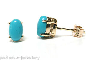 9ct-Gold-Turquoise-Oval-Stud-Earrings-Boxed-Made-in-UK