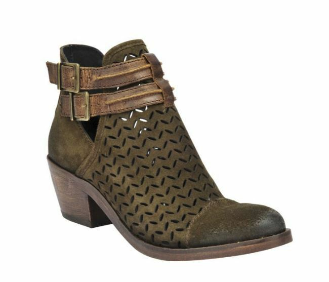 Circle G Ladies Olive Green Laser-Cut Suede Booties P5125