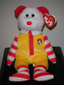 "Ty Beanie Baby ~ RONALD McDONALD 8"" Bear (2004 Convention Exclusive) MWMT'S"