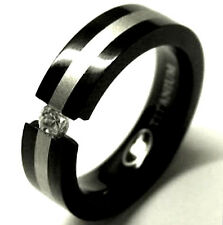 TITANIUM Black Plated TENSION RING with Silver Accent Band & Round CZ, size 8