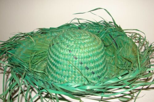 Vintage Woven Straw Mexican Green Scarecrow Style