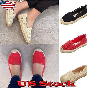 US-Women-Fashion-Lace-Fisherman-Espadrilles-Slip-On-Round-Toe-Flat-Single-Shoes