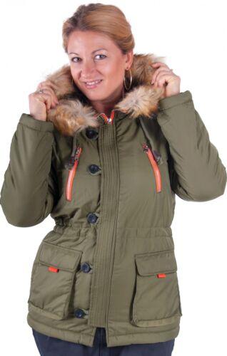 blu e verde NUOVO Almwerk donna invernale Giacca con cappuccio pelliccia in nero