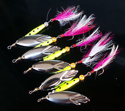 5PCS Fishing Feather Treble Hook Spinner Spoon Lure baits 14g