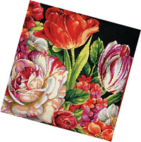 "Dimensions Needlepoint kit 14"" x Pillow BOUQUET ON BLACK #71-20079 Craft Supplies"
