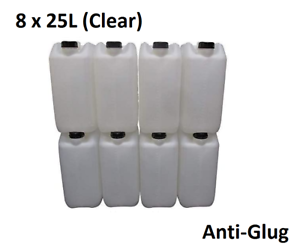 8 x 25 LITRE 25L PLASTIC BOTTLE JERRY WATER CONTAINER CANISTER ANTI GLUG - CLEAR