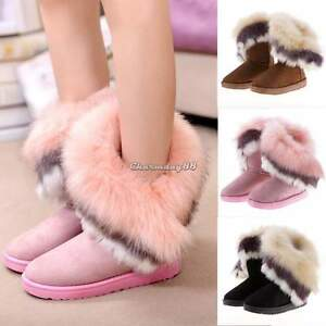 Fashion-Womens-Suede-Faux-Fur-Warm-Winter-Mid-Calf-Snow-Boots-Low-Ankle-Boots