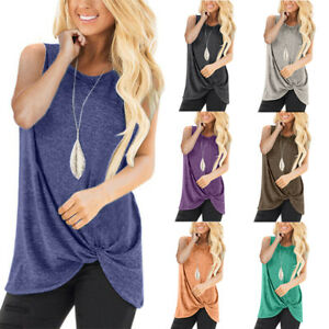 Womens-Sleeveless-Knotted-Tunic-T-Shirt-Casual-Tank-Top-Oversized-Tops-Blouse-US