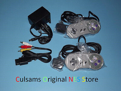 2 SUPER NINTENDO SNES CONTROLLERS, AC ADAPTER & AV CABLES WITH 30 DAY GUARANTEE