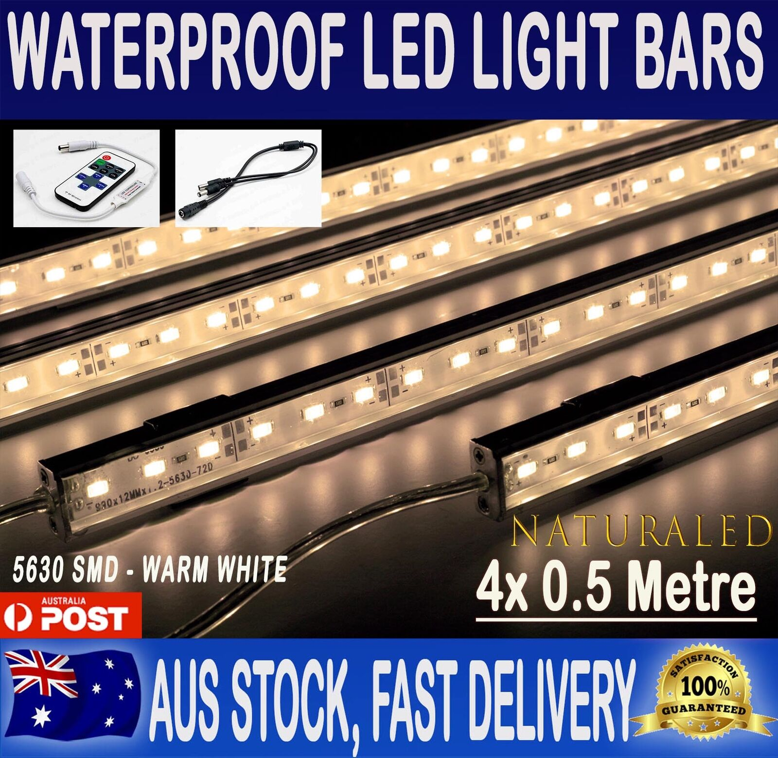 4X12V Waterproof Warm White 5630 Led Strip Lights Bars Car Camping Boat+Remote