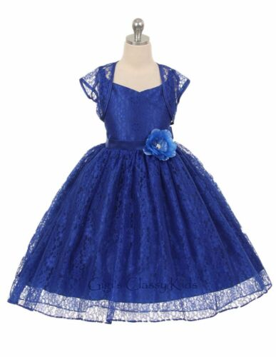 New Flower Girls Lace Dress Bolero Wedding Pageant Christmas Easter Party 336