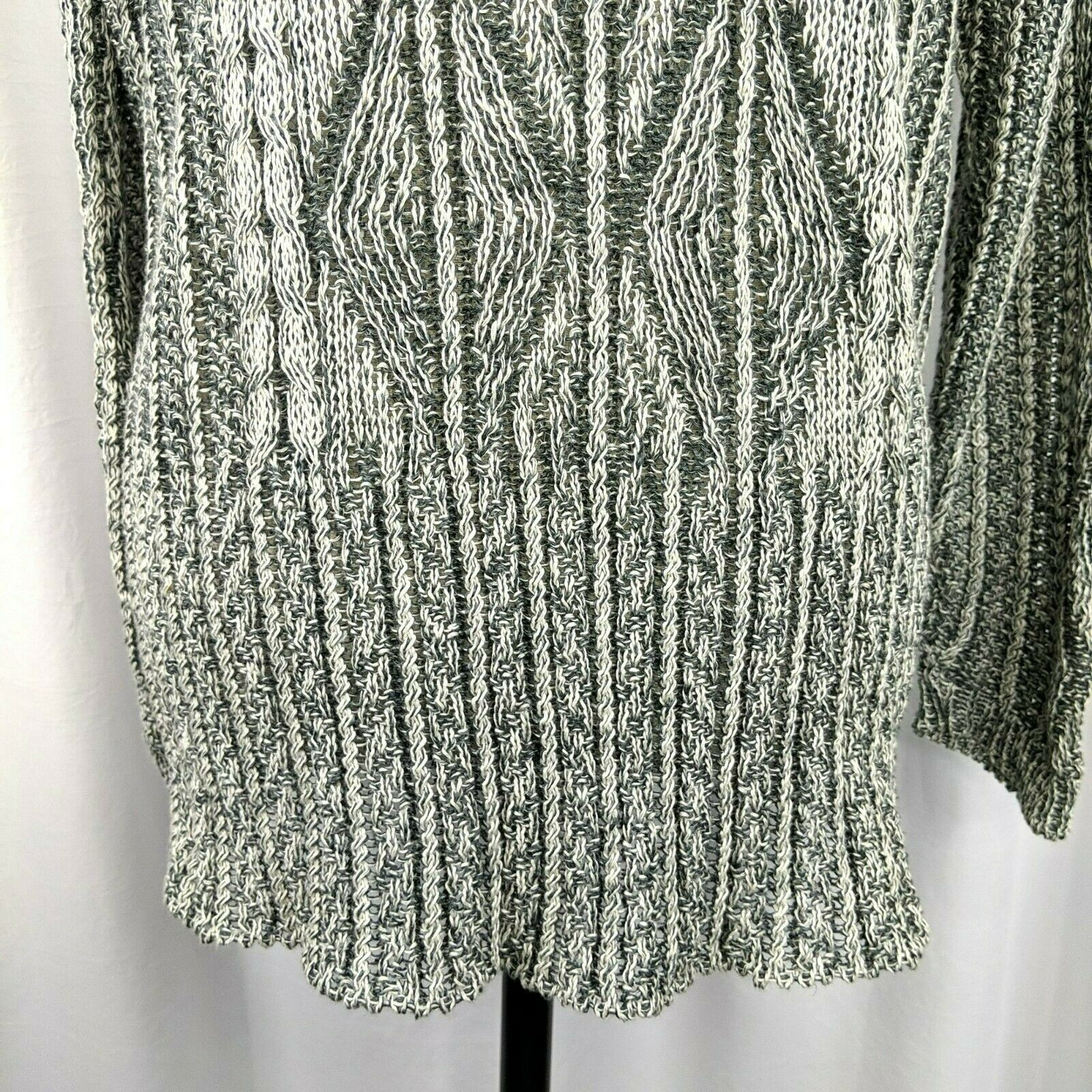 Inis Meain Gray Cream Linen Cable Knit Sweater Sz… - image 4