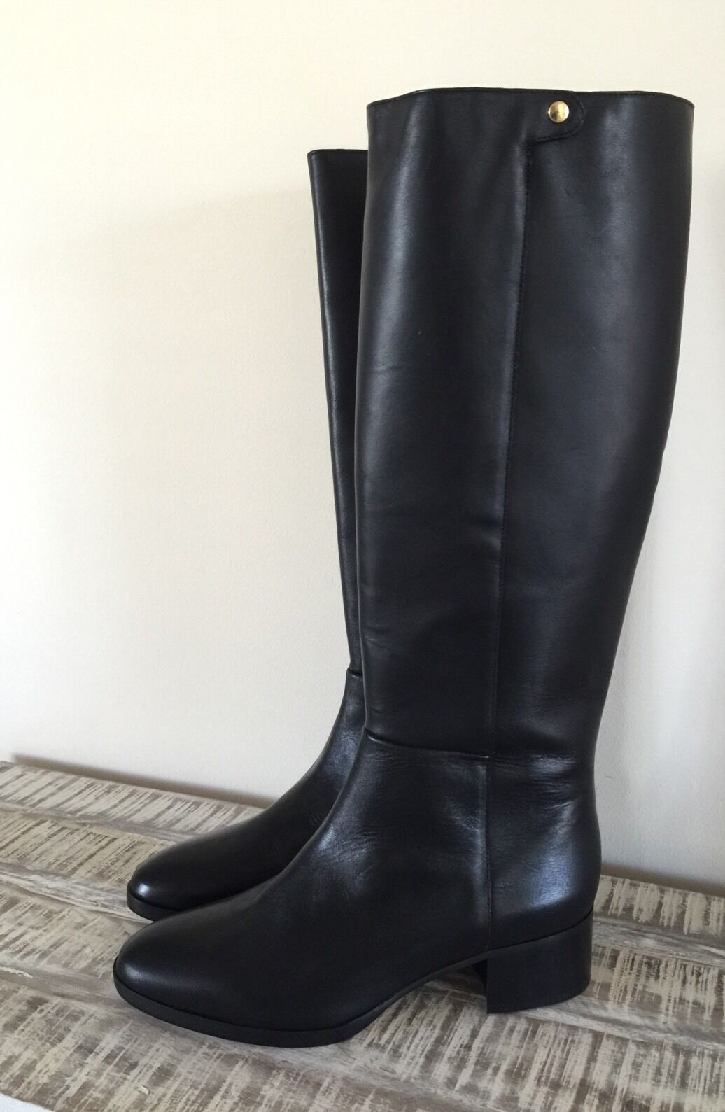 New JCrew  298 Leather Knee Boots Sz 10.5 Black F4980 Regular Calf
