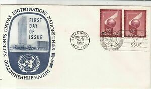 United Nations 1957 United Nations FDC Double Stamps Cover Slogan Cancel rf22103