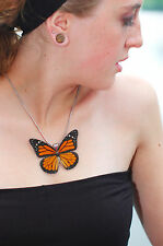 Real Handmade Monarch Butterfly Wing Necklace - Butterfly Jewelry - Laminated
