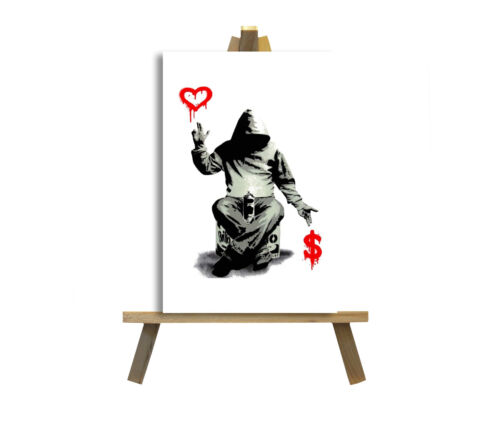 Banksy Love or Money Graffiti Art Printed Canvas Picture Multiple Sizes