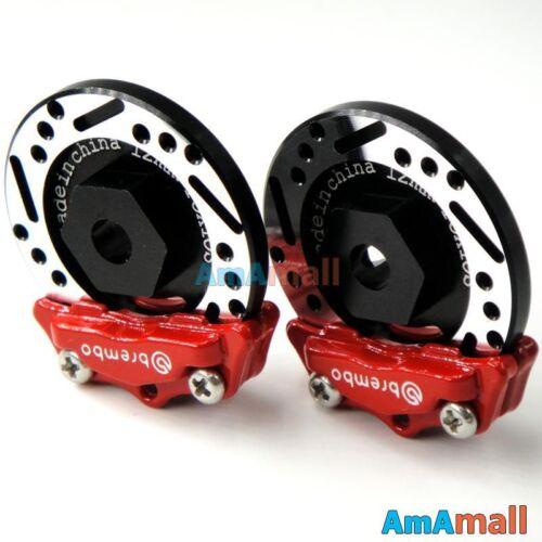 4pcs 1//10 RC Alloy Aluminum Brake Disc Caliper Fit 1:10 RC Car 12mm wheels Hub