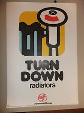 """Poster 1976 TURN DOWN radiators  Department of Energy SAVE IT 15x10"""""""