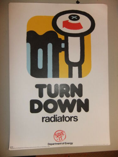 Poster 1976 TURN DOWN radiators  Department of Energy SAVE IT 15x10/""