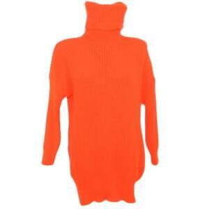 spedizione gratuita 68305 c07a3 Dettagli su Maxi pull dolcevita donna arancio fluo lungo vestitino a collo  alto maniche lung