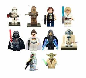 Star-wars-10-x-Mini-Figures-Fit-Lego-minifigs-Han-Solo-Dark-Vador-Skywalker-UK