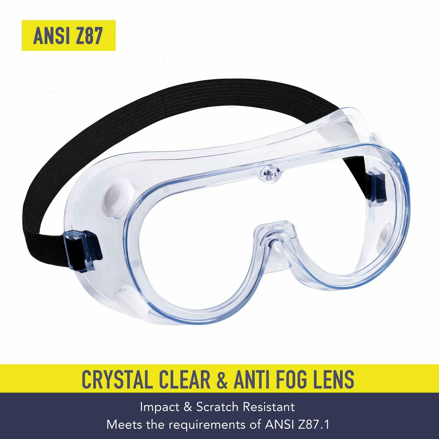 1 pc Safety Goggles Over Glasses Eye Eyewear Clean Lens Protective Work Lab new