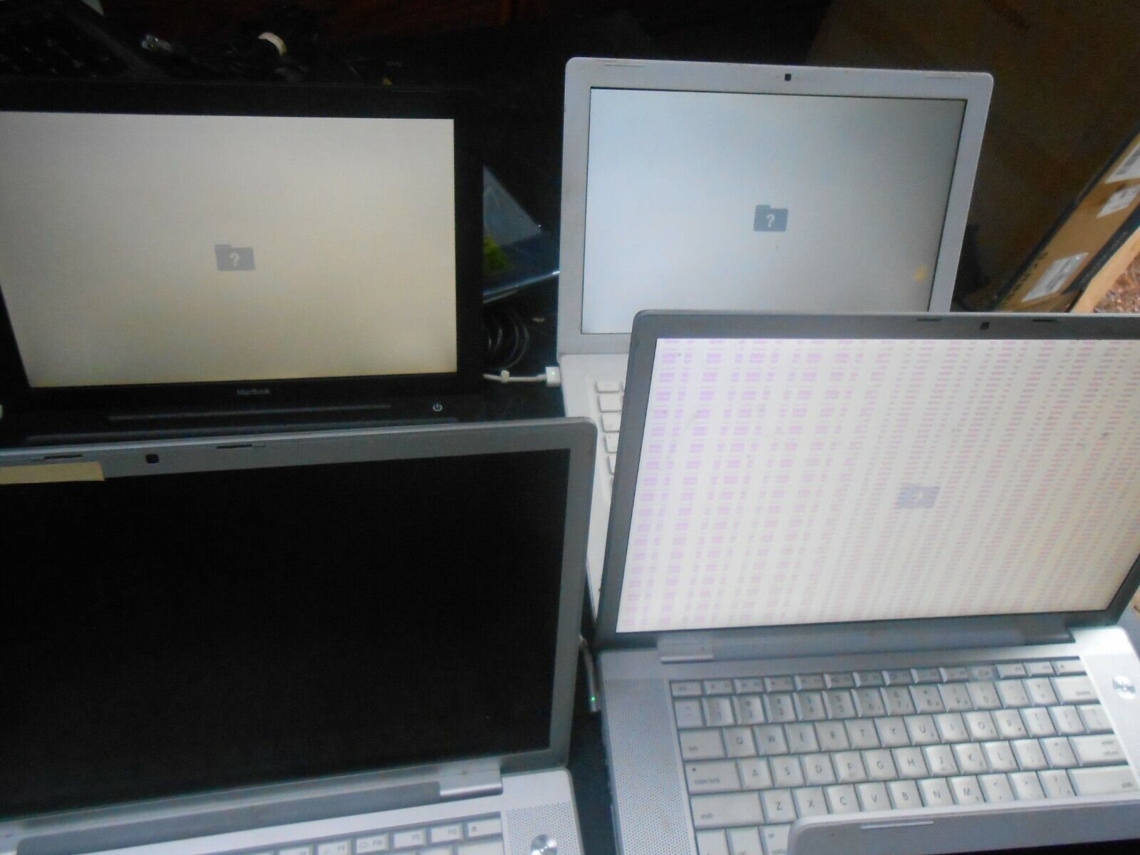 Six (6) Apple C2D Macbook Laptops for Parts Repair Only w/ RAM HDD and Adapters. Buy it now for 165.00