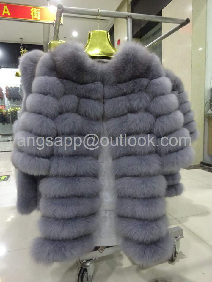 Venta de fábrica Abrigo largo de piel de zorro Abrigo de piel de zorro entero Abrigo de piel de invierno para mujer