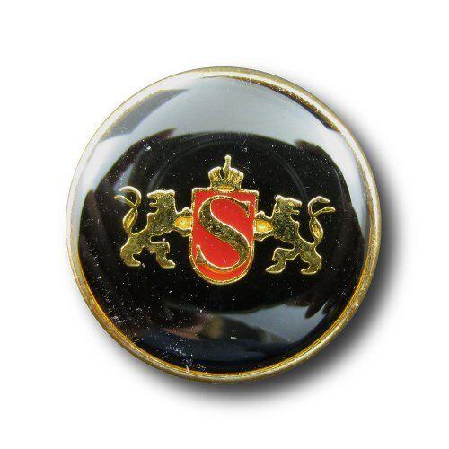 0902ro 5 negro rojo dorado botones de metal con emblema /& León