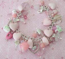 New OOAK Crystal Lampwork Glass Pink Hearts Beads Mothers Day Charm Bracelet