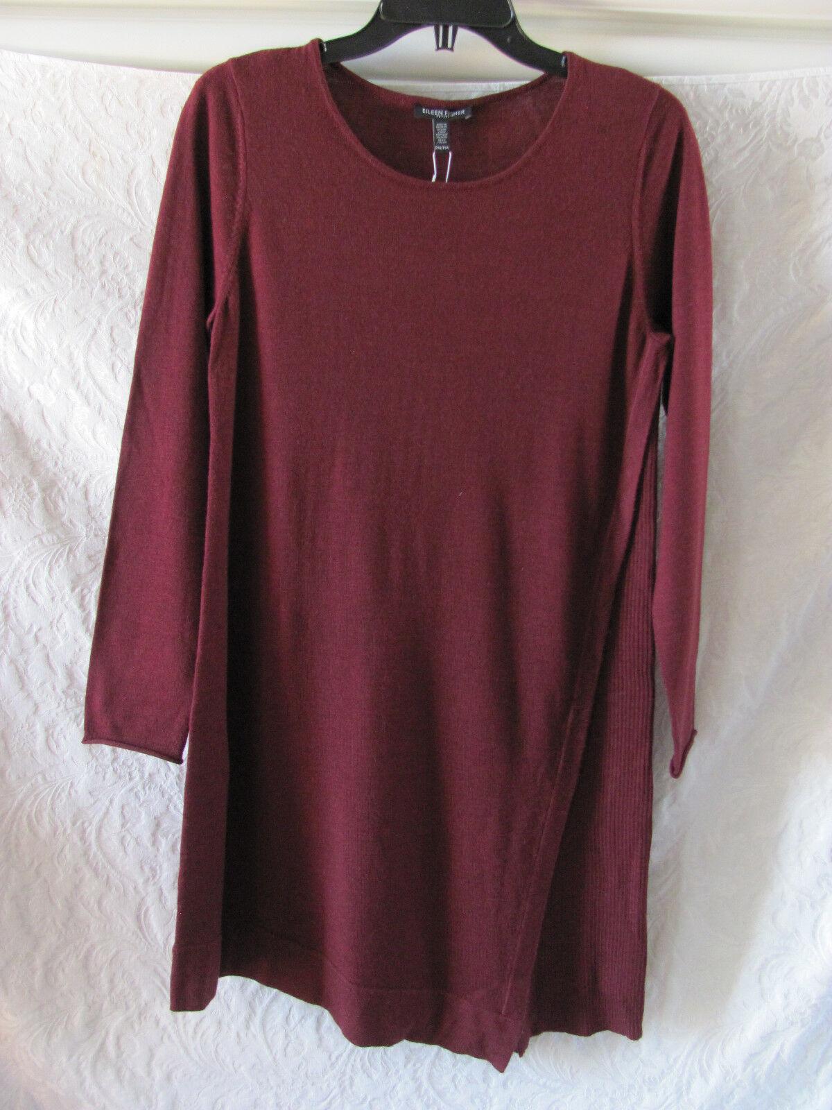 Eileen Fisher Asym Hem Sweater Dress-Merino Wool-Passion Wool-Passion Wool-Passion Flower-Size PM-NWT  278 8cf1f9