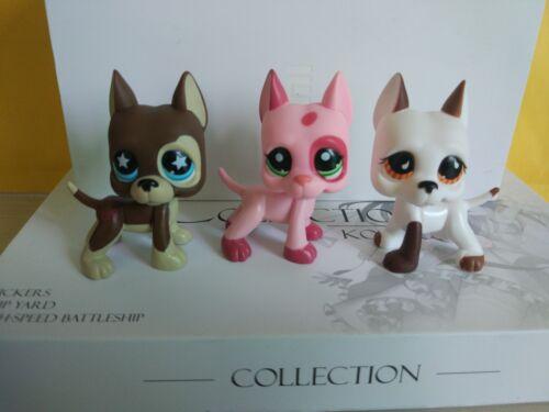 3pcs littlest pet shop LPS figure brown pink white  great dane dog puppy#208