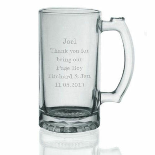 Personalised Engraved Glass Tankard Wedding Pageboy Page Boy In Blue Gift Box RH