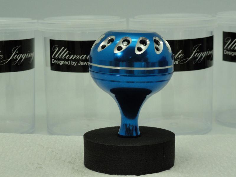 U.J. 45mm knob for Accurate Boss FX BX Fury 400 500 600 single speed reel Blau