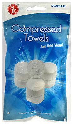"12pc Compressed Disposable 3/4"" Tablet Size Hand Towels NW9510 US FAST FREE SHIP"