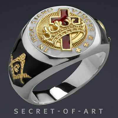 Knights Templar Masonic Ring Freemason 925 Silver with 24K Gold-Plated Parts