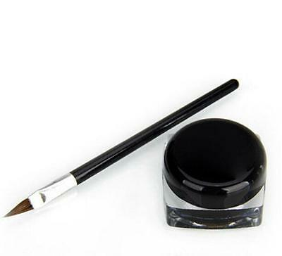 Pro Waterproof Eye Liner Eyeliner Shadow Gel Makeup Cosmetic + Brush Black LOCA