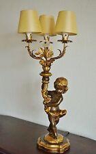 Barock Putto Engel Tischlampe Holz Figur Tischleuchter Antik Kerzenleuchter Lamp
