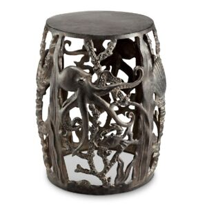 Octopus Garden Stool Accent Side End Table Metal Coastal