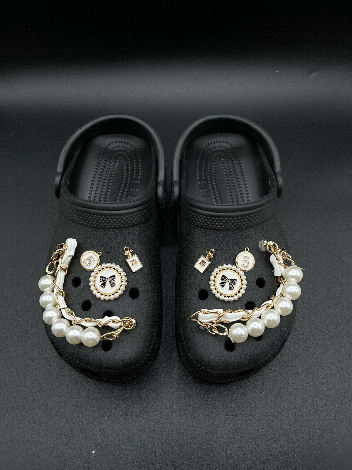 Luxury Gold/White Leather Chain Charms For Crocs. Suitable For Adult Crocs.