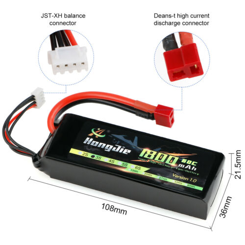 1800mAh 3S 11.1V Lipo Battery Deans T Plug for RC Car Truck RC Boat Buggy Truggy